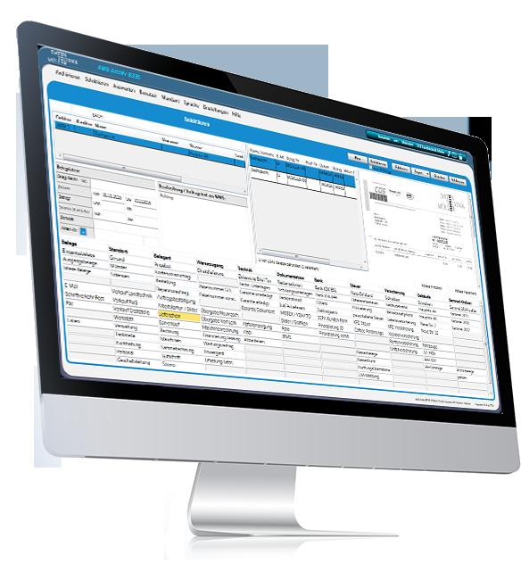 Seitenansicht von PC mit Screenshot von AMS Archiv zeigt automatischen Import der XML Belege an