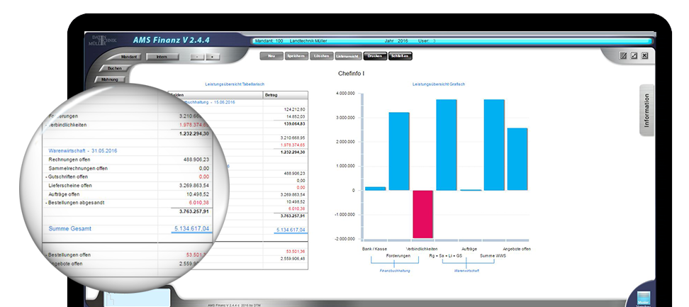 AMS FINANZ abgebildet auf Bildschirm mit grafischen Auswertungen aus der WWS und Finanzbuchhaltung, Lupe zeigt genaue Zahlen