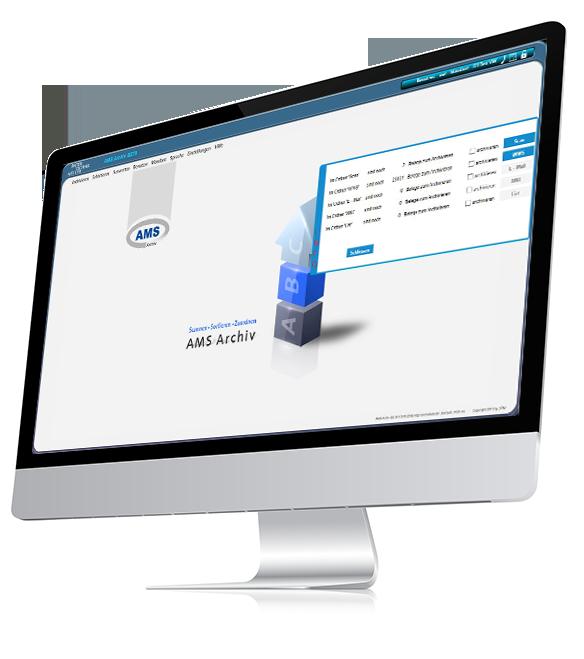Seitenansicht von PC Screenshot zeigt AMS Archiv_zum Import bereit stehende Dokumente aus Warenwirtschaft an