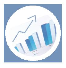 Balkendiagramm blau mit Verweis auf Finanzbuchhaltung Software AMS Finanz