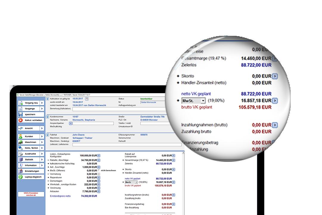Laptop mit Screenshot von AMS Arista & AMS SalesManager Lupe vergrößert die Zahlen